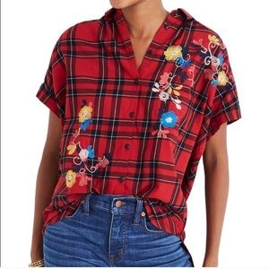 MADEWELL red embroidered plaid central shirt
